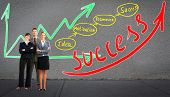 Business people team near scheme background. Success.