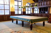 picture of floor covering  - Covered pool table in the billiard room - JPG