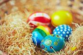 Easter symbols in nest