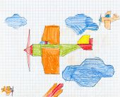 airplane on checkered paper. child drawing.