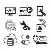 Computer repair icons set 01  // BW Black & White