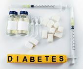 Diabetes word and medical equipment on light background