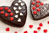 Valentines Hearts Chocolate Cakes Couple On Sugar Powder Background