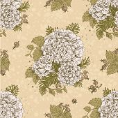 Seamless Vintage Beige Color Decorative Ornament Of Stylized Flowers And Berries
