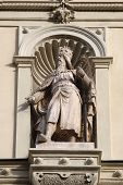 GRAZ, AUSTRIA - JANUARY 10, 2015: Statue of the Austrian monarchs on the portal of City Hall. Graz is the capital city of Styria, Austria on January 10, 2015.