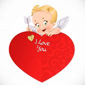 Cute Cupid With A Big Red Valentine Card  Isolated On A White Background