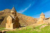 stock photo of armenia  - ancient beautiful monastery in the mountains of Armenia - JPG