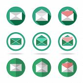 Flat letters icons set - closed, opened, with letter outside. Different kinds of flat style.