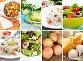 Healthy dishes and products in collage