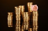 pic of coin bank  - Piggy bank standing on stack of coins isolated on black - JPG