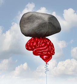 pic of organ  - Brain power concept as a red balloon shaped as a human thinking organ lifting up a heavy rock as a symbol and mental health metaphor for powerful creatve intelligence and memory - JPG
