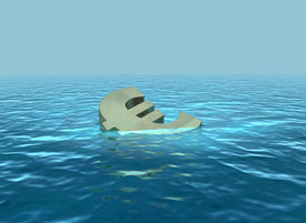 image of wallow  - A 3D render of euro symbol sinking or wallowing - JPG