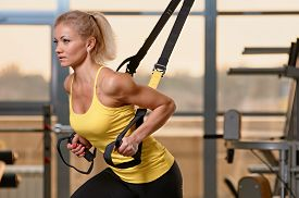 image of suspension  - Young attractive woman training with htrx fitness straps in the gym - JPG