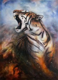 stock photo of cosmic  - A beautiful airbrush painting of a roaring tiger on a abstract cosmical background - JPG