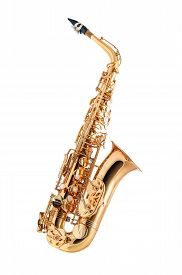 image of wind instrument  - Golden alto saxophone classical instrument isolated on white - JPG