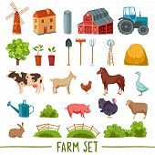 stock photo of tree house  - Farm multicolored icon set with house barn tractor tree haystack cattle poultry garden tools isolated vector illustration - JPG