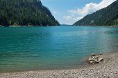 Summer Panoramic View Of Alpine Lake