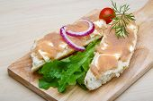 stock photo of cod  - Sandwich with cod roe salad onion and dill - JPG