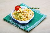 picture of scrambled eggs  - Scrambled eggs with tomato dill and black olive - JPG