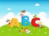 stock photo of bookworm  - Cute little kids reading books near alphabet letters - JPG