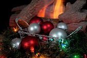 Christmas Balls With Fire