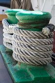 image of sailing vessels  - ropes on an ancient sailing vessel vertical  - JPG