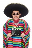 foto of clapper board  - Funny mexican in poncho with clapper - JPG