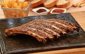 picture of grill  -  Grilled pork rib meat on top of grill stone - JPG