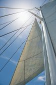 image of mast  - Low angle view of yacht sails and mast against sky - JPG
