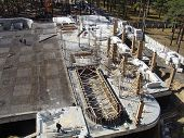 image of foundation  - Foundation work at the construction site of the building - JPG