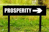 picture of prosperity  - PROSPERITY written on directional black metal sign with arrow pointing to the right against natural green 