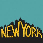 image of letter t  - New York vintage hand drawn lettering poster - JPG