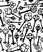picture of skeleton key  - Seamless background of keys icons - JPG