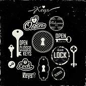 foto of keyholes  - Set of icons keyholes  - JPG
