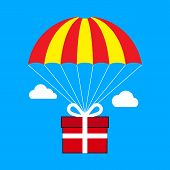 picture of parachute  - Gift box flying on parachute delivery service bonus concept - JPG