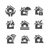 Постер, плакат: Property insurance icons Home protections and insurance risks Vector illustration Simplus series