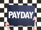 image of paycheck  - Payday card with checkered flag on background  - JPG