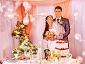 stock photo of balloon  - Group people at wedding table and balloon - JPG
