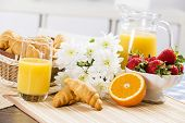 picture of breakfast  - Breakfast with assortment of pastries - JPG