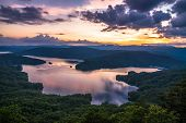 stock photo of blue ridge mountains  - The stunning scenery high above the wild and scenic Lake Jocassee at sunset. Located on the border of North Carolina and South Carolina in the Blue Ridge Mountains.