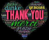 picture of thankful  - Heart shaped Thank You international word cloud on a black background - JPG