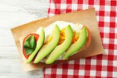 pic of avocado  - Tasty sandwich with egg - JPG