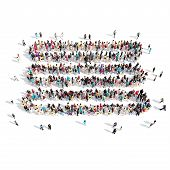 stock photo of bubble sheet  - A large group of people in the shape of a sheet of paper - JPG