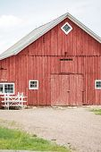 picture of red barn  - Red old barn on historical farm in Parker Colorado - JPG