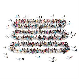 picture of bubble sheet  - A large group of people in the shape of a sheet of paper - JPG