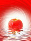 Постер, плакат: Красное яблоко отражено в оказываемых воды