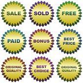 Set of colorful sale labels.