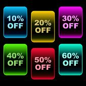 Discount label templates with different percentages