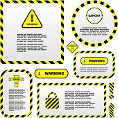 Warning vector labels. Vector template.