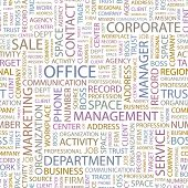 OFFICE. Seamless vector background. Wordcloud illustration.